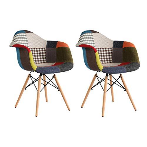 MIFI 2X Stuhl Esszimmerstuhl Patchwork Design Klassiker Patchwork Sessel Retro Barstuhl Wohnzimmer Küchen Stuhl Esszimmer Sitz Holz Leinen (Bunt)