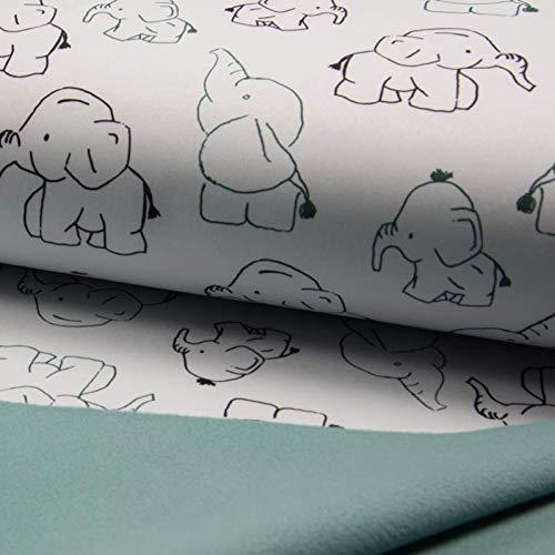 0,5m Softshell Elefanten weiß - Fleece-Rückseite in Mint grün 97% PE 3% SP Meterware 140cm breit Gewicht: 310 g/m²