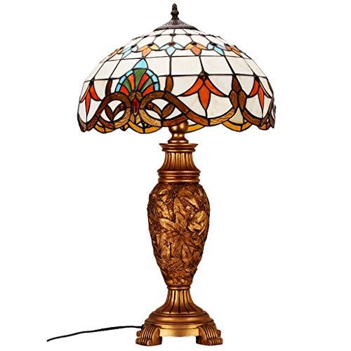 Nachttischlampe, Tiffany Style Tischlampe Barock Wohnzimmer Lampe Gold Gelb Schlafzimmer Lampe 16 Zoll,Nachtlicht