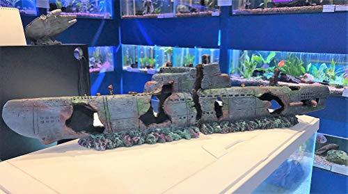 Mezzaluna Gifts 58cm Submarine 2 Piece Aquarium Fish Tank Sub Wreck Ornament