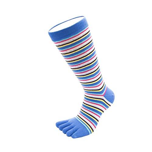 Toe Toe Toetoe – Essential – pour Homme rayé Chaussettes à Orteils (UK 7–13 | EU 41–48, Mince rayé Bleu)