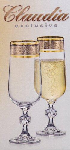 Exclusive Bohemia Crystal 6 Sektgläser mit Silbergravur, mit Goldrand, 200 ml