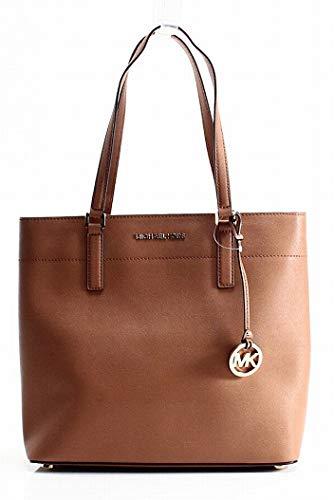 MICHAEL Michael Kors Womens Morgan Pebbled Carryall Tote Handbag Brown Large