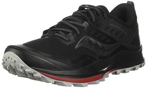 Saucony Men's Peregrine 10 Trail Running Shoe, Black/Red, 11.5 M US