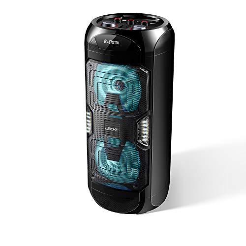LEICKE Bluetooth Lautsprecher DJ Roxxx | Party Lautsprecher tragbar, Speaker mit USB, Aux In, UKW Radio, Musikbox mit Beleuchtung