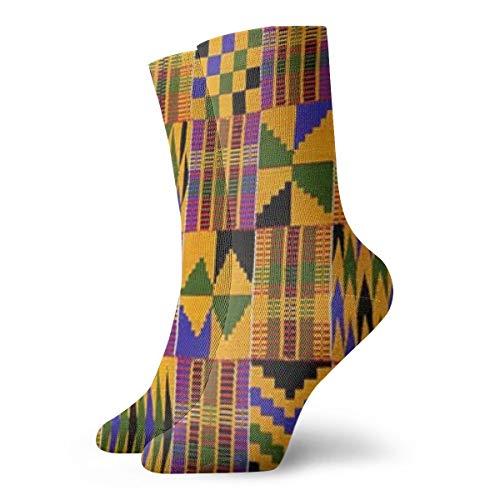 Desing shop Ghana Kente Cloth Novelty Funny Crazy Crew Sock Cool Unisex Sport Athletic Socks 30cm Long Personalized Gift Socks