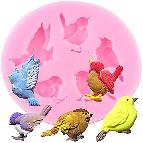 LIUXIYUANG 3D Birds Silicone Molds Chocolate Fondant Cake Decorating Tools DIY Craft Soap Resin Mold Cupcake Topper Candy Clay Moulds