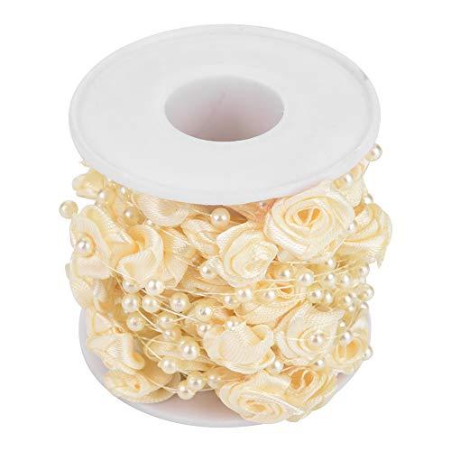 Perlenkette, künstliche Perle DIY Perlen Girlande String 10m/Rolle, für Hochzeitsdekoration.(Beige)