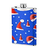 Red Santa Hat Stainless Steel Pocket Hip Flask Soft Touch Leather Wrapped And 100% Leak Proof Fits Any Suit For Liquor Shot Drinking