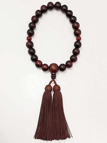 京念珠 男性用 数珠 ツヤケシ紫檀 メノウ入 人絹房 紙箱入 -すべての宗派でご使用頂けます-