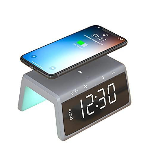 Pointuch - Reloj despertador digital con cargador inalámbrico, 5 luminosidad, RGB, repetición, 2 alarmas, cargador de inducción para iPhone Samsung Galaxy AirPods (gris)