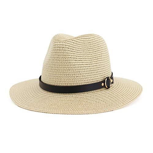Charmylo Fedora Trilby, cappello da sole da donna, in paglia, morbido, protezione UV, con cinghia regolabile KEA15 – beige. M
