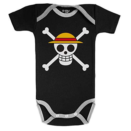 Baby Geek Drapeau de Luffy - One Piece ™ - Licence Officielle - Body Bébé Manches Courtes - Coton - Noir (3-6 Mois)