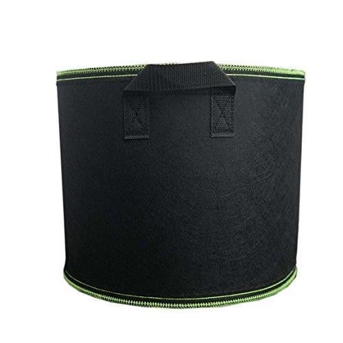Ancdream 10 Gallon Noir avec Vert Tissu Bassin Récipient Rond Végétale Potted Sac Plantes Grandir Sacs Plantation Pots Pochette Aération