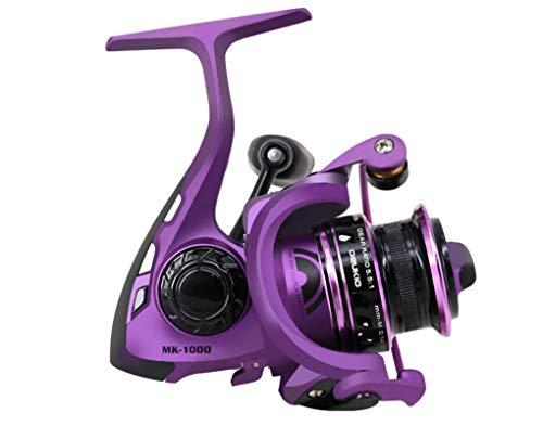 SportsInn MK1000 Purple Fishing Reels 5 BB 1 RB Spinning Reel Front Drag Reel Gear Ratio 5.5 :1 Right or Left Handed Interchangeable, Lightweight Conventional Reel