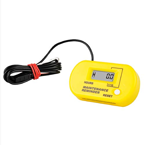 Runleader Digital Inductive Hour Meter,Maintenance Reminder for ZTR Lawn Mower Air Compressor Snowmobile ATV Outboards Motor Dirtbike Motorcycle and Gas Powered Device. (YELLOW)