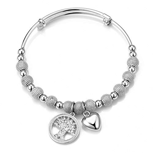 Philip Jones Silver Tree of Life Bangle Created with Austrian Crystals