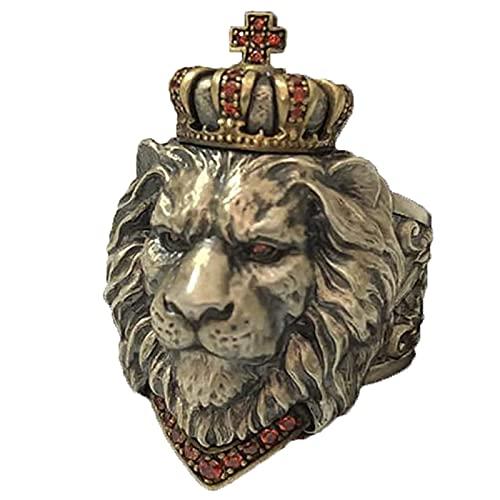 Anillo De Cabeza De LeóN, Punk Animal King Crown Hip Hop Totem Amuleto Metal Pesado Estilo De Roca GóTico Biker Viking Jewelry,Ajustable (B)
