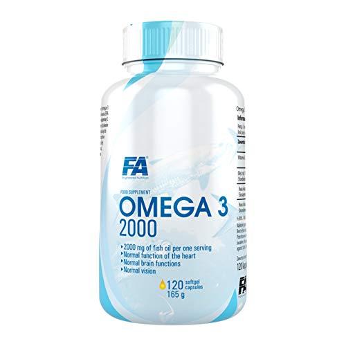 Fitness Authority FA Omega 3 2000mg Confezione da 1 x 120 Capsule Softgels - Olio di Pesce - Acido Docosaesaenoico DHA e Acido Eicosapentaenoico EPA - Vitamina E