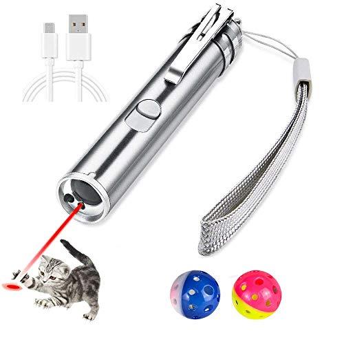 CLEYCYE LED Pointer für Katzen und Hunde Spielzeug Haustier LED Licht Pointer mit USB Wiederaufladbar mit 2 Bällen