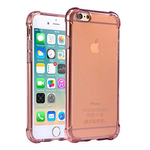 Cover per iPhone 6 / 6S, Custodia Jenuos Trasparente Antiurto Paraurti Silicone Trasparente Cover TPU per iPhone 6 / 6S 4.7' - Rosa (6G-TPU-RE)