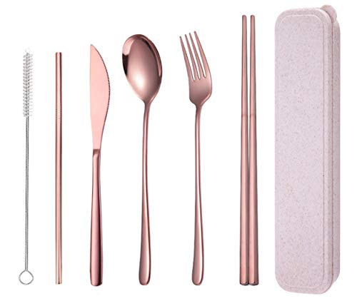 AARAINBOW Stainless Steel Flatware Set Portable Reusable Cutlery Set Travel Utensils Set Including Chopsticks Knife Fork Spoon Straws Cleaning Brush Dishwasher Safe (6 Rose Gold)