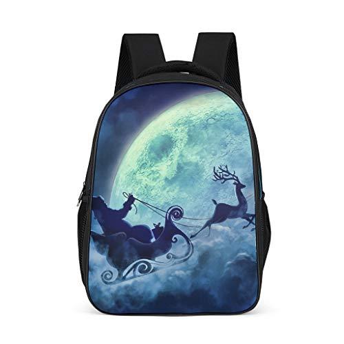 NiTIAN Kerstmis druk kinderen school schooltas Big schooltas Backpack unisex rugzak voor trekking 32c * 18 * 42cm Reindeer Santa Claus