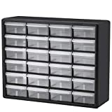 Akro-Mils 24 Drawer 10724, Plastic Parts Storage Hardware and Craft Cabinet, (20-Inch W x 6-Inch D x 16-Inch H), Black