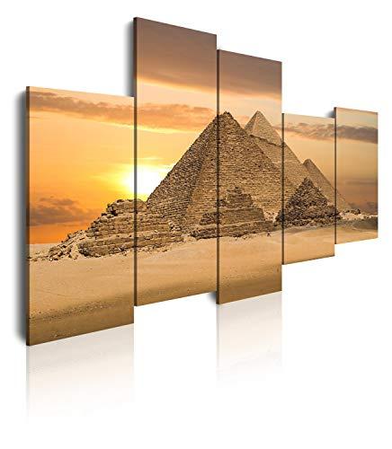 DekoArte 125 - Cuadros Modernos Impresión de Imagen Artística Digitalizada | Lienzo Decorativo Para Tu Salón o Dormitorio | Estilo Paisaje Pirámide Egipto Ciudades | 5 Piezas 150x100cm