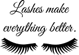 JUEKUI Fashion Wall Decal Lashes Make Everything Better Wall Sticker Women Beauty Eyes Eyelashes Quote Sticker for Bedroom Decoration WS46 (Black, 28x20cm)