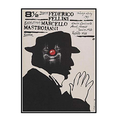 chtshjdtb El cartel de la película 8 1/2 Federico Fellini, carteles artísticos raros polacos checos,impresión, decoración del hogar, sala de estar, 50X70 CM sin marco, 1 Uds.