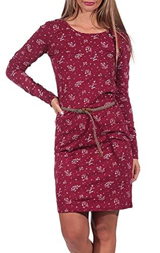 Ragwear Montana Damen Frauen Langarmkleid,Kleid,Freizeitkleid,Jerseykleid,Langarm,Rundhalsausschnitt,Taillengürtel,Regular Fit,Rot,XL