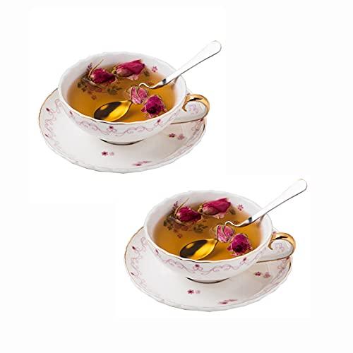ErZhuiZi Tazas de Porcelana para Capuchino con Platillos y Cuchara, Juego de 2 Tazas de Té y Platillo de Cerámica Tazas de Café Expresso, 180ml