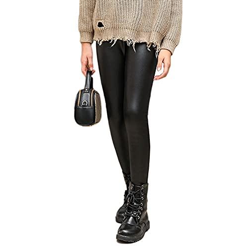 Niña Leggins PU Cuero Artificial Leggings Cálido Elásticos Forrado de Térmico Grueso Cintura Elástica Pantalones de Lápiz Jeggings,Negro,140