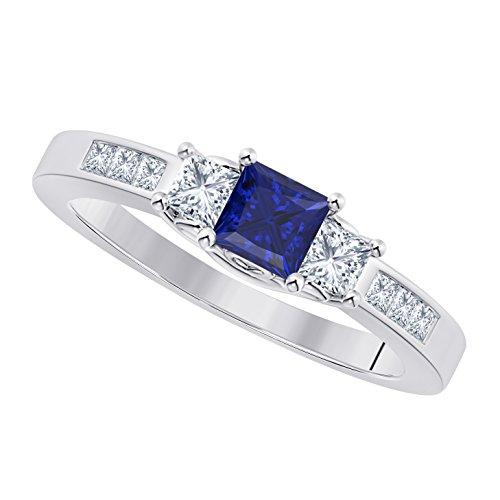 Anillo de compromiso de plata de ley 925 con diamantes de imitación y zafiro azul de corte princesa de 1,00 ct, Metal, Cubic Zirconia,
