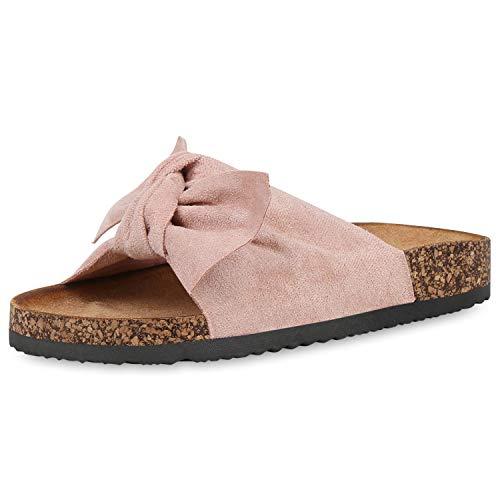 SCARPE VITA Damen Sandalen Pantoletten Korkoptik Sommerschuhe Schlappen Schleifen Schuhe Flats Hausschuhe Latschen 190572 Rosa Rosa Total 37