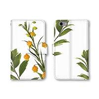 【ノーブランド品】 Android One S2 スマホケース 手帳型 ホワイト 花柄 植物柄 スマホカバー かわいい おしゃれ 携帯カバー S2 ケース 携帯ケース アンドロイド ワン