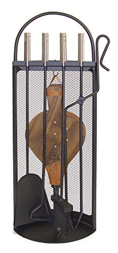 Imex El Zorro 10048 open haard accessoireset, vierkant design, roestvrij, inclusief blaasbalg, 68 x 23 x 14 cm, zwart