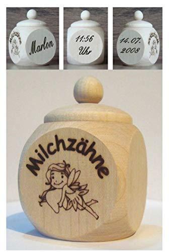 Milchzahndose, Zahndose oder Erste Locke Dose aus Holz mit Schraubgew. u. kostenl. Gravur