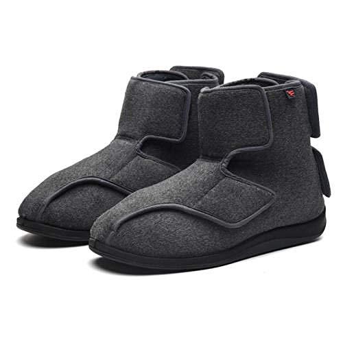 TDYSDYN Calzado OrtopéDico Ajustable para Artritis,Zapatos de Tela de Velcro de ensanchamiento Alto, Zapatos para diabéticos cálidos y de Terciopelo-Gris_41