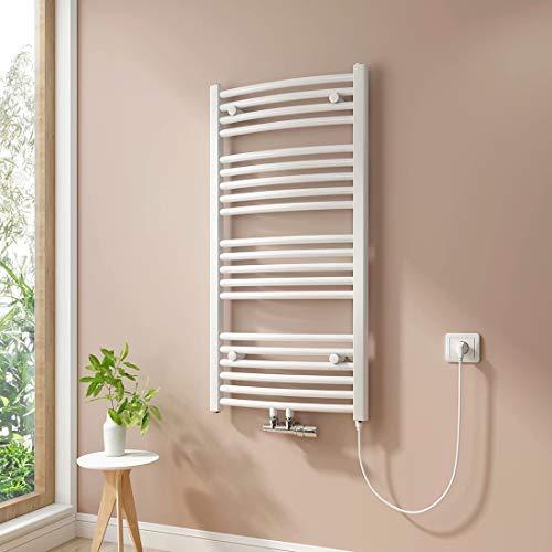 Handtuchheizkörper, Badheizkörper, Weiß Badheizkörper, Mittelanschluss Warmwasser oder Elektrisch mit Heizstab, Handtuchtrockner (100 x 50 cm, 500 Watt)