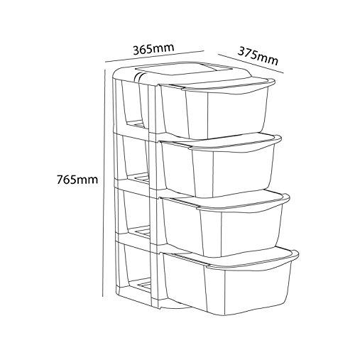 Cello Cuboid Storage Unit with 4 Drawers (Matt Brown)