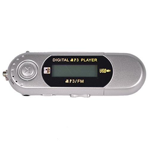 MERIGLARE Reproductor MP3 USB LCD Portátil de 4GB con Radio FM, Color Plateado