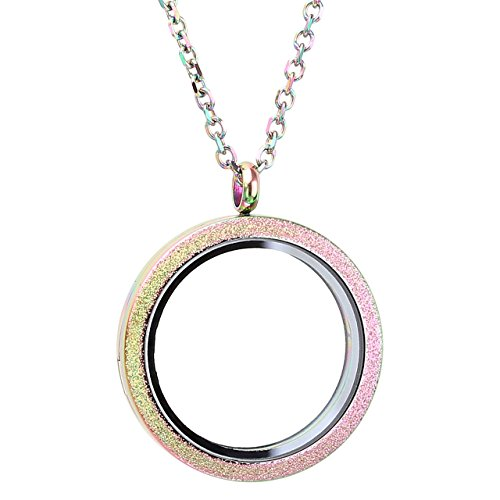 Zysta Silver Round Locket Pendant Necklace 30mm Glossy...