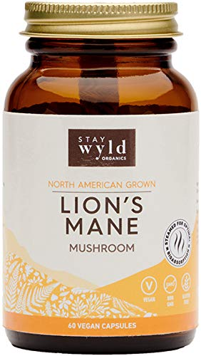 Stay Wyld Organics Lion's Mane Mushroom Vegan Capsule Supplement - Memory & Brain Booster, Mood Regulation, Anti-Anxiety, Natural Nootropic, Reduce Inflammation - Women & Men | (60 Capsules)