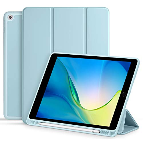 Akkerds Case for iPad 10.2 2020 iPad 8th Generation/2019 iPad 7th Generation with Pencil Holder, Premium Protective Case with Soft TPU Back, Auto Sleep/Wake Cover for iPad 8th/7th Gen, Sky Blue