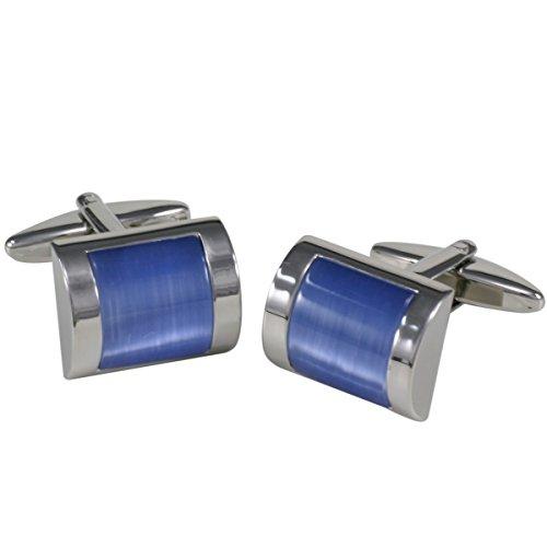 Lindenmann Cufflinks/Cuff Buttons, Silvery with Cats-Eye Blue, Gift Box, 10280