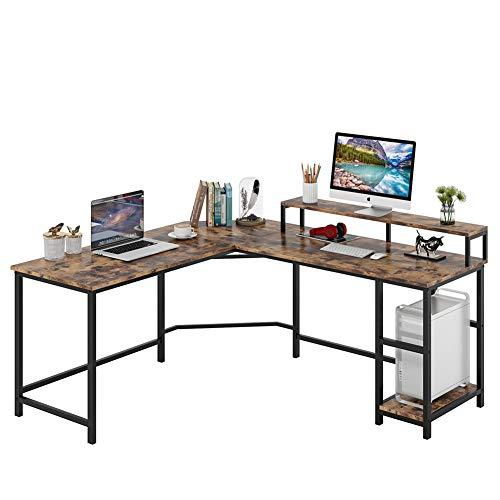 Escritorio de computadora Escritorio para juegos en forma de L Estación de trabajo de escritura en esquina Escritorio de estudio PC Mesa de escritorio industrial de oficina en casa para por Tribesigns