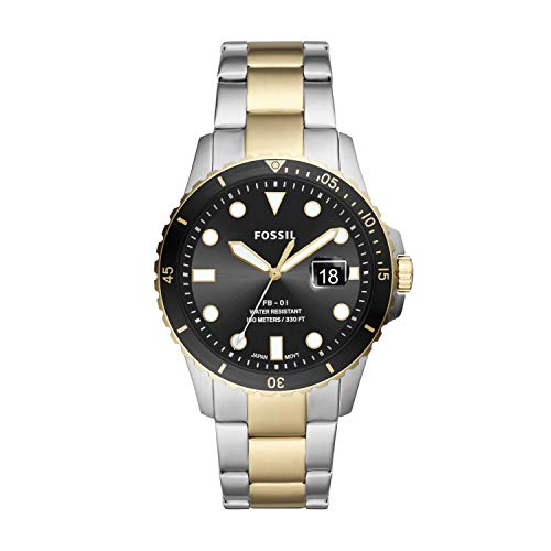 Fossil Men's FB-01 Quartz Stainless Three-Hand Watch, Color: Silver/Gold (Model: FS5653)
