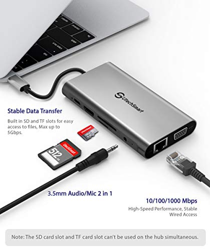 UtechSmart USB C Hub, USB C Dock,9 in1 Triple Display USB C Docking Station Adapter with 4K HDMI, VGA, 100W PD, 4 USB… 5 【Latest version All-in-one USB C Docking Station】Connect to the latest MacBook or USB-C devices with the multiport USB-C dock featuring a 4K HDMI port, a VGA port,a USB C charging port with 100W power delivery, SD/TF card reader, 3 USB 3.0, a USB 2.0 Port. 【MST Triple display】Expand dual screens with our USB C dock, boost efficiency 3 times. Flexibling process multiple apps via triple display. HDMI & VGA port support up to 4K@30Hz &1080P@60Hz respectively or dual 1080P. Mac OS don't support extend mode. 【100W Power Delivery& High-speed Data transfer】USB Type C docking station blazing-fast charges your MacBook Pro or other Type-C devices while connecting 100W USB C PD port. 3 USB 3.0 Ports with 5Gbps data transfer rate and 4.5W (5V/900mA) Power output.